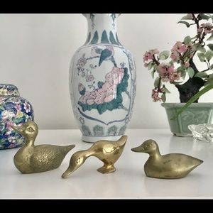 Vintage lot of 3 brass ducks EUC with patina